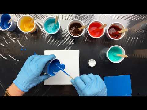 ( 702 ) A new cyan pour and how to clean a dried brush