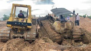 អាប៉ុលយក្សជាប់ផុងក្នុងភក់ជ្រៅ - Komatsu bulldozer stuck in deep mud & recovery (The End)