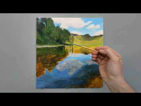 #124 Painting A Shallow Lake | Time Lapse