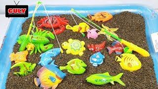 đồ chơi câu cá trong bể bơi đầy cát dành cho trẻ em trò chơi fishing toy in sandy pool