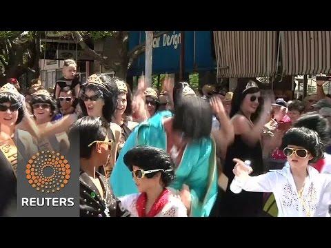 Elvis fans parade at Australian festival honouring rock 'n' roll idol