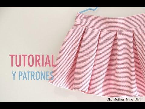 Costura y patrones: Falda de tablas para niñas (patrones gratis hasta talla 7 años)