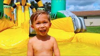 Jackson's Three Year Old Birthday Party (HUGE Waterslide)