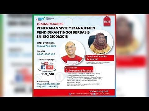 https://www.youtube.com/watch?v=0zLLqIjTneM&t=13sPenerapan Sistem Manajemen Pendidikan Tinggi berbasis SNI ISO 21001:2018