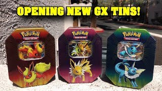 *NEW EEVEELUTION TINS!* Opening all BRAND NEW POKEMON CARD GX TINS!