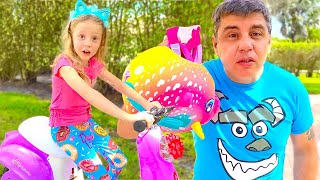 Nastya learns how to ride a bike. Useful stories for children.