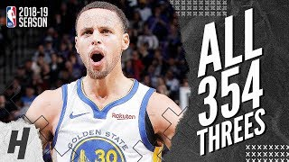 Stephen Curry ALL 354 Three-Pointers in 2018-19 NBA Regular Season