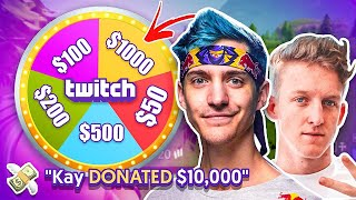 MYSTERY WHEEL Decides how much I Donate to Twitch Streamers on Fortnite (1 KILL= 1 SPIN)