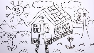 Draw House and Learn Colors! Coloring Page for Kids Baby Children Toddlers!