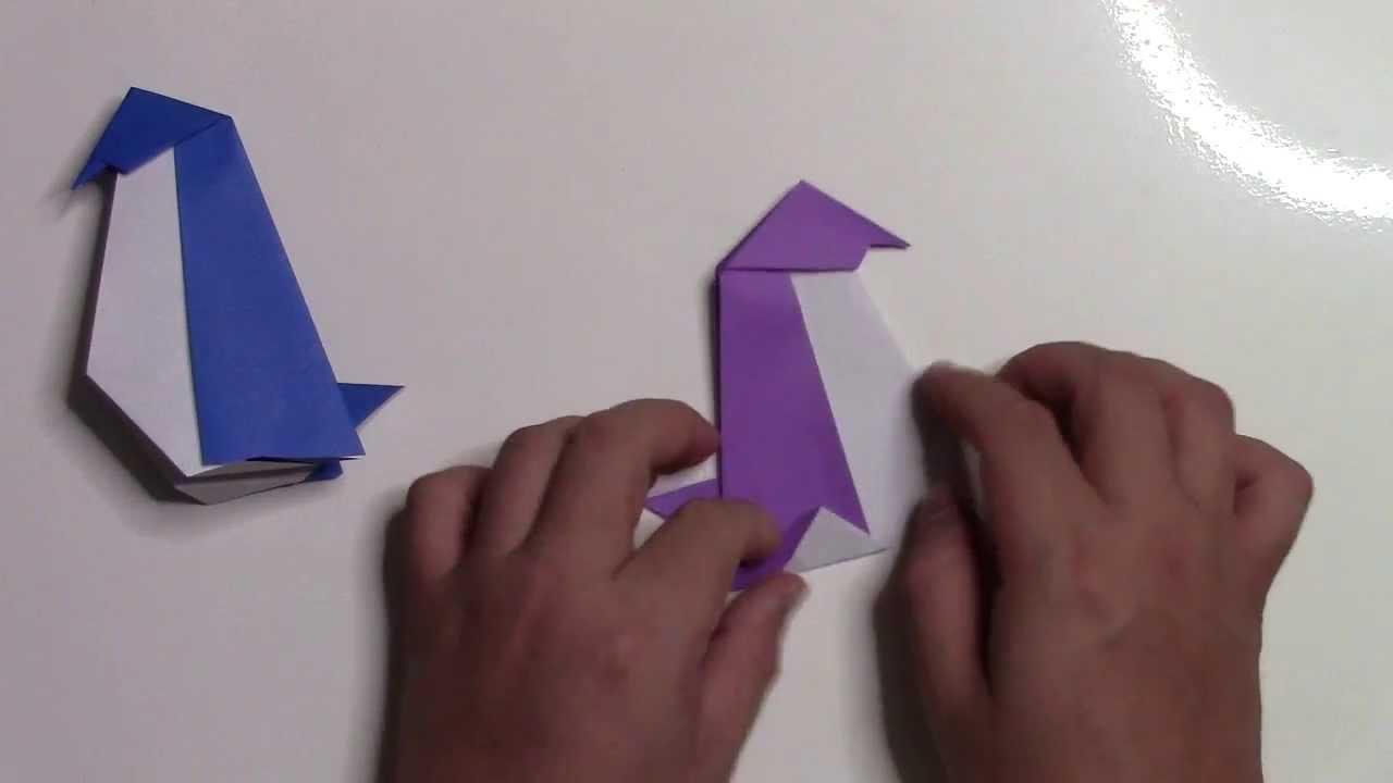 【折り紙 折り方】簡単なペンギンの作り方動画 - YouTube