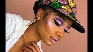 Purple Glitter Cut Crease Makeup Look   MakeupTiffanyJ