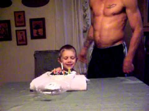 7 Year Old Birthday Boy Gets Whipped Cream Cake In The