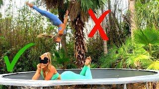 'STICK IT' (Blindfolded) Trampoline Challenge