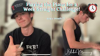 Playing the Piano for a Week Straight Challenge!! crazy results* | Blake Manning