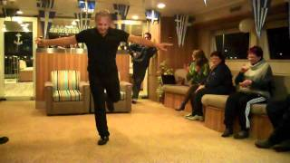 Stephanos dances Zorba on Harmony G cruise, Greek night