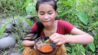 Pretty girl Find Snails the riverside - Pretty girl cooking Snails on rock eating delicious