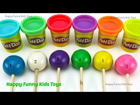 Learn Colors with 6 Play Doh Lollipops and Giraffe Molds Puppy In My Pocket Surprise Toys Kinder Egg