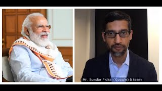 PM Modi interacts with Google CEO Sundar on leveraging tec..