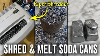 Shredding And Melting Soda Cans With A Paper Shredder - Simple DIY Recycling At Home