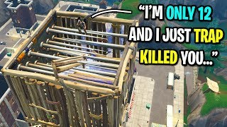 12 year old pro Fortnite player wants to 1v1 me in playground... (INSANE Build Battles)