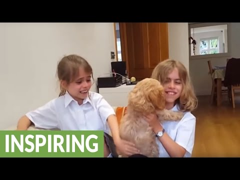 Sisters emotional after new puppy surprise