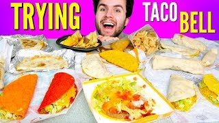 TRYING TACO BELL'S WHOLE DOLLAR MENU! - Tacos, Burritos, & Nachos Taco Bell Fast Food Taste Test!