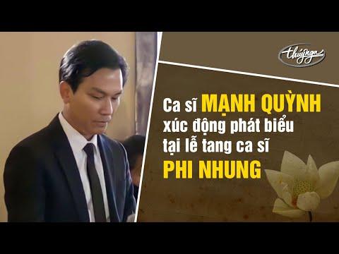 Ca sĩ Mạnh Quỳnh xúc động phát biểu tại lễ tang ca sĩ Phi Nhung.