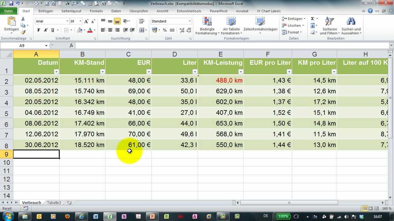 benzinverbrauch mit excel berechnen kosten auf  km