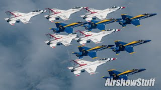Blue Angels and Thunderbirds Fly Together Over New York City - Extended Compilation