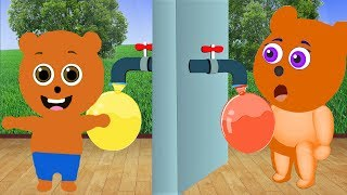 Mega Gummy bear Filling Water Balloons Cartoon Animation Nursery Rhymes