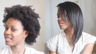 HOW TO: Straighten 4C Natural Hair Tutorial (No Blow Dryer Needed)