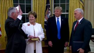 WATCH: President Donald Trump And Vice President Mike Pence Swear In Rex Tillerson (FNN)