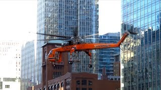 Helicopter Lift Job in Downtown Chicago - Erickson Air-Crane Sikorsky S-64 [N237AC] [01.13.2018]