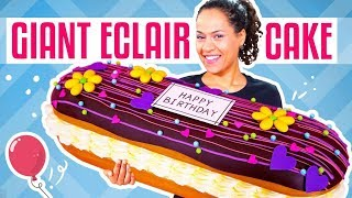 How To Make A GIANT Chocolate Eclair out of CAKE | Yolanda Gampp | How To Cake It