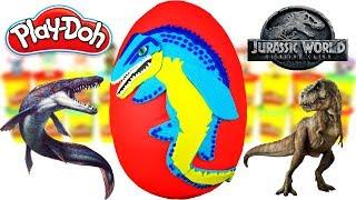 Huevo Sorpresa Gigante de Mosasaurio de Jurassic World 2 el Reino Caido Plastilina Play doh Español