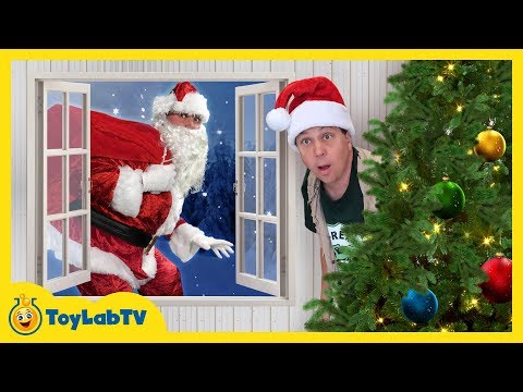 Dinosaur Christmas Story! LB Meets Santa Claus in Fun Family Video for Kids with Nerf Toy