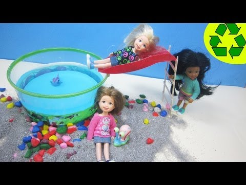 How to Make a Round Doll Swimming Pool with a slide