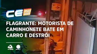 FLAGRANTE: Motorista de caminhonete bate em carro e destrói quatro motos