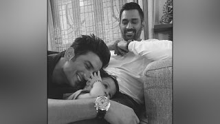 Watch : Dhoni's daughter Ziva playing with Sushant Singh R..