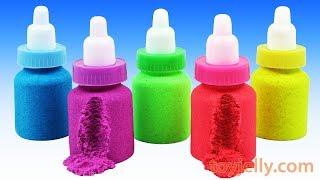 Making Kinetic Sand Baby Milk Bottle DIY Learn Colors Nursery Rhymes Play Doh Pjmasks Surprise Eggs