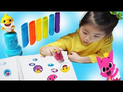 종이가 필요없어요 찍기만 하면 스티커가 팍팍!! 서은이의 핑크퐁 스티커 팡팡 아기상어 스템프 Pinkfong Baby Shark Sticker Stamp