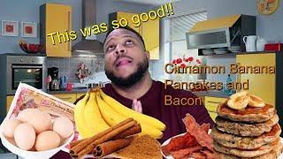 Breakfast Recipe Cinnamon Banana Pancakes and Bacon & wk 9 update