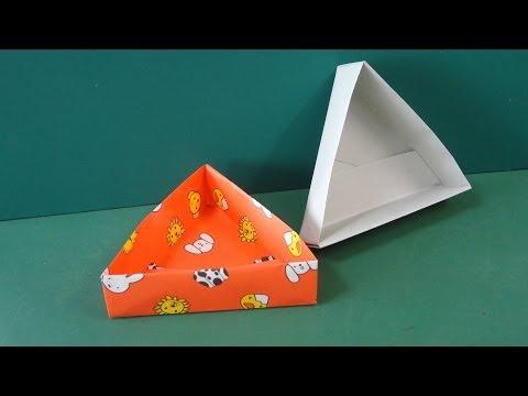 折り方 折り紙四角箱折り方 : 折り紙「三角形の箱」折り方