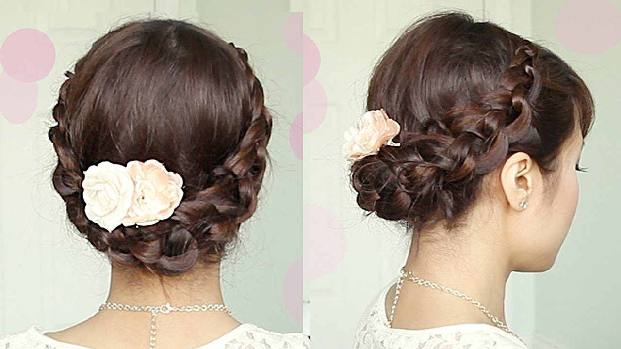 Crochet Braid Updo Hairstyle For Medium Long Hair Tutorial