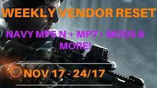 The Division - Weekly Vendor Reset Nov 17 - 24/17