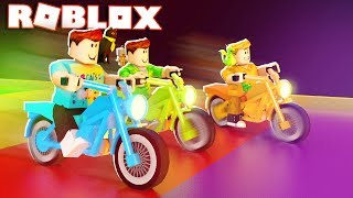 Roblox Adventures - RIDE A MOTORBIKE DOWN THE RAINBOW STAIRS! (Roblox Motocross)