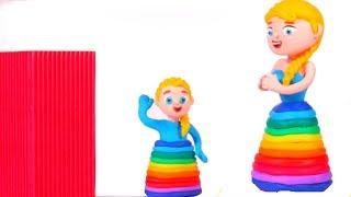 FROZEN ELSA NEW RAINBOW COLOR DRESS ❤ Superhero & Frozen Elsa Play Doh Cartoons For Kids