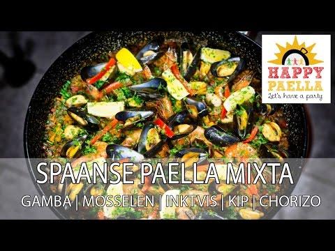Echte Paella maken - RECEPT paella mixta met gamba, inktvis, mosselen, kip en chorizo