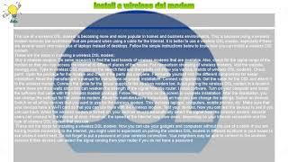 How to : Install a wireless dsl modem