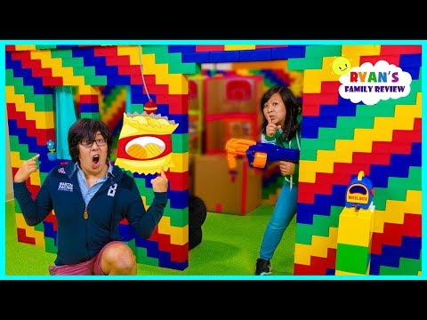 24 hours in the giant lego box fort house challenge!